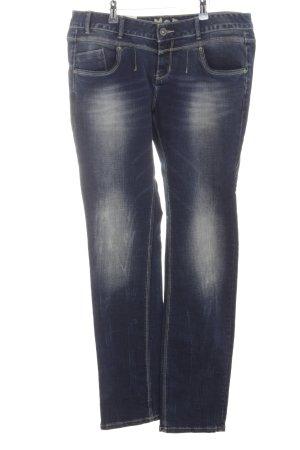 MOD Jeans met rechte pijpen donkerblauw-licht beige abstracte print