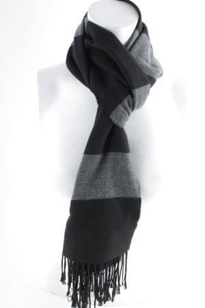 Moda Di Centone Casual Écharpe en laine noir-gris motif rayé style anglais