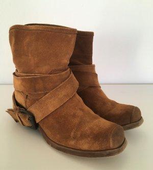 MODA Leder Western Cowboy Boots Cognac 37 Wildleder Stiefel Ankle Stiefeletten