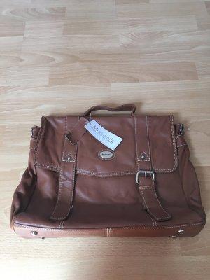 Modapelle Tasche Aktentasche DIN A4 Cognac Echtleder Leder neu Etikett braun