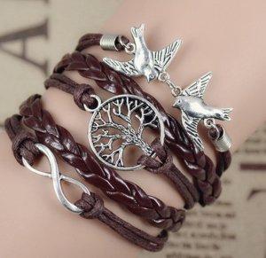Mode-Armband Infinity Vögel Baum braun
