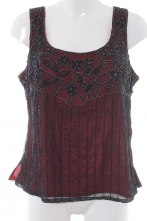 Mode Exclusive Mehra Top in seta nero-bordeaux elegante