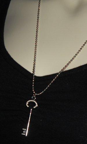 Mode Kette Halskette h m silber farben Schlüssel Anhänger Loch Muster wie neu