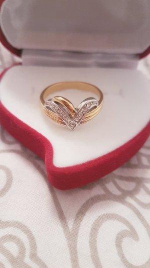 Statement ring zilver-goud