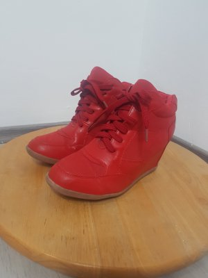 Heel Sneakers red imitation leather