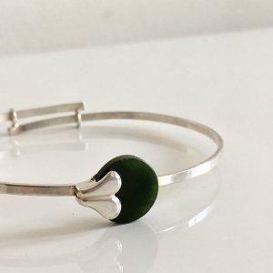 Modern Art armreif 835 silber Jade Edelstein Besatz Juwelierarbeit Meisterpunze