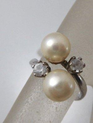 Modern Art Design 925 Sterling Silberring Spann Ring  Perlen und Kristallbesatz Juwelierstück Meisterpunze