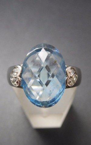 Modern Art Design Ring ♛925er sterling Silber Blautopas Topas Herz Kristalle wasserblaue aquamarin Farbe