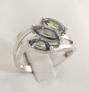 Modern Art Rainbow Effekt Ring 925 Sterling Silber Silbering 3 Mystic Topase Edelstein Topas