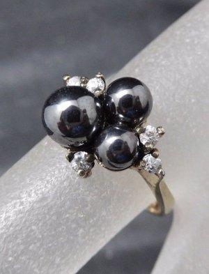 Modern Art Ring 925 Sterling Silber Perle & Swarovski Zirkonia Hämatit Perlen