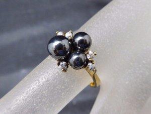 Modern Art Ring 925 Sterling Silber Silberring gold vergoldet mit Perlen & Swarovski Zirkonia