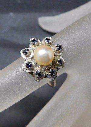 Modern Art Saphir Ring 835 Silber Echtsilber floral Blume Perle Silberring flower Perlenring