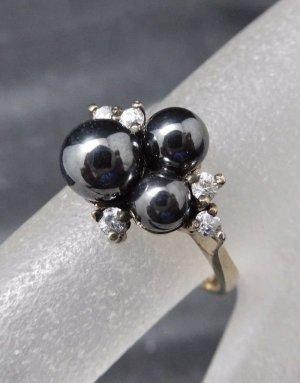 Modern Art Vintage Ring 925 Sterling Silber Perle & Swarovski Zirkonia