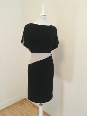 Modern geschnittes Kleid in Hellgrau/Schwarz