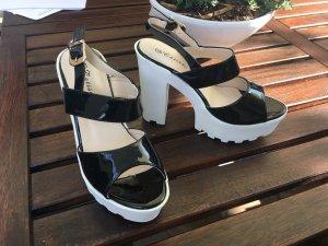 moderne blogger blockabsatz lack sandalette mit plateau schwarz weiß