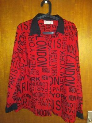 Moderne Bluse, langarm, rot schwarz, Gr. 46
