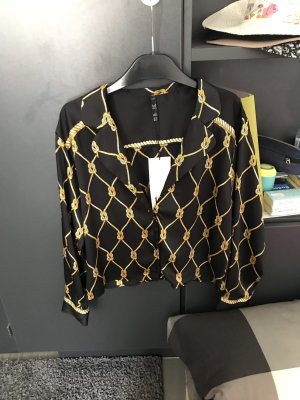 Zara Trafaluc Glanzende blouse zwart-goud