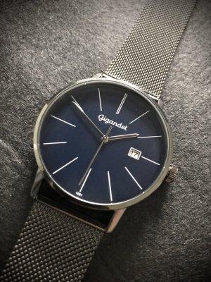 Watch With Metal Strap black-dark blue stainless steel