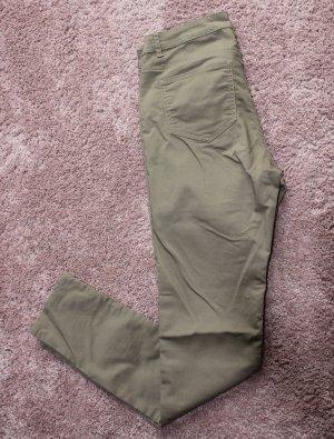 H&M Drainpipe Trousers green grey-khaki