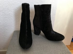 moderne Velvet Samt Stiefelette schwarz