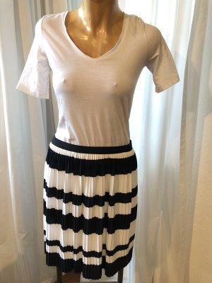 H&M Geplooide rok wit-zwart