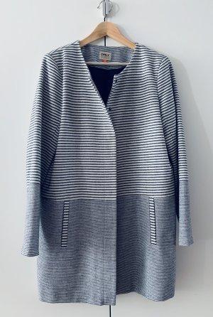 Moderner Übergangsmantel Mantel Casual-Look Blau-Weiß-Gestreift