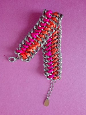 Modernes breites Armband in Pink und Orange