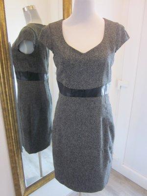 Modernes Etuie Kleid Grau am Bauch Ledereinsatz Gr 40