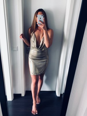 modernes gold glitzer Mini Kleid sexy mit Schlitz