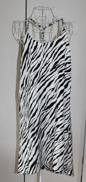 H&M Jurk met langere achterkant zwart-wit