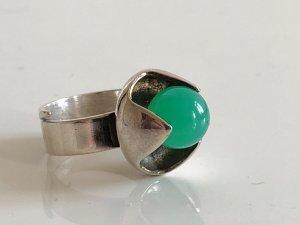 Modernist 925 Sterling Silber Ring Silberring chrysopras Finnland 70er Jahre