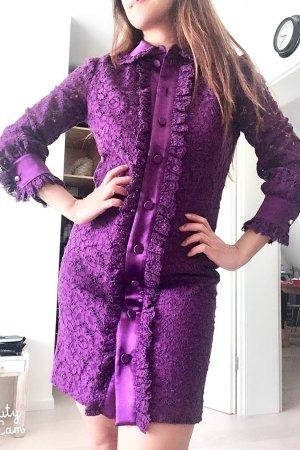 Modeschau Lila Lace Perlen Gucci Kleid
