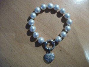 Modeschmuck Armband mit Perlen + echt Silber Herz Anhänger
