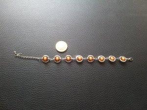 Modeschmuck Armband Saturn  silber orange Perlen