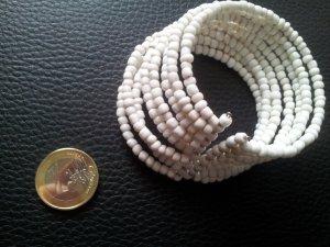 Modeschmuck Armreif Perlen weiß Kunststoff