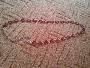 Modeschmuck Bauchkette Hüftgürtel silber rot Herze Kettengürtel