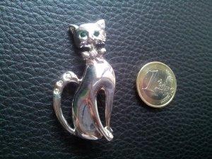 Modeschmuck Brosche Katze silber grüne Strass Augen