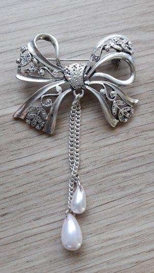 Broche zilver-lichtroze Metaal