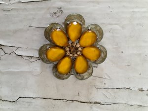 Brooch silver-colored-gold orange
