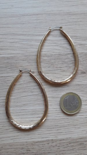 Modeschmuck große goldene Ohrringe Hänger Creolen oval