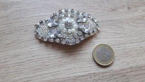 Modeschmuck Haarspange Glitzer Steine Perlen weiß silber