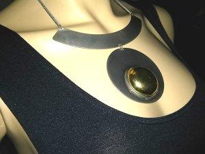 Modeschmuck -Halskette-Collierkette mit Metall-anhängern- silber/goldfarben