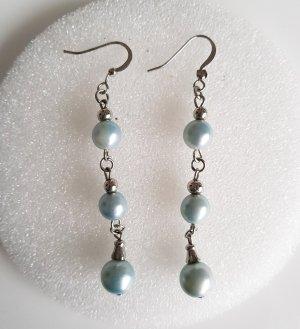 Modeschmuck Ohrhänger silber mit Perlen in hellblau