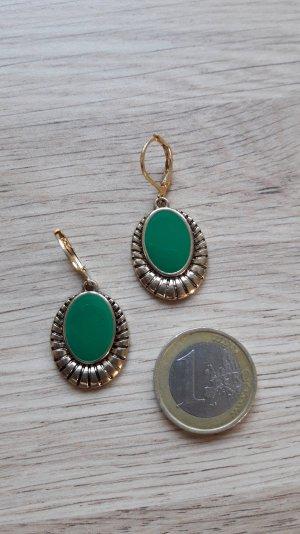 Modeschmuck Ohrringe gold türkis grün Hänger