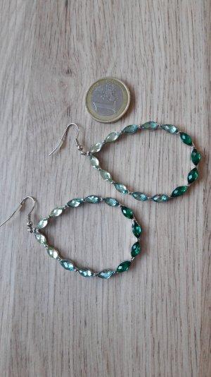 Modeschmuck Ohrringe grün türkis silber groß