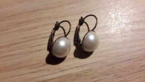 Boucles d'oreilles en perles blanc-bronze matériel synthétique