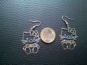 Modeschmuck Ohrringe Hello Kitty Strass blau silber