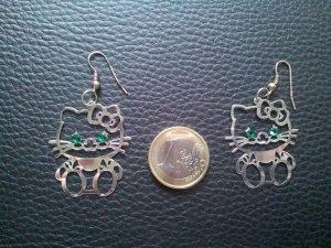 Modeschmuck Ohrringe Hello Kitty Strass grün silber