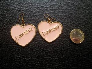 Modeschmuck Ohrringe Kunststoff Herz nude gold