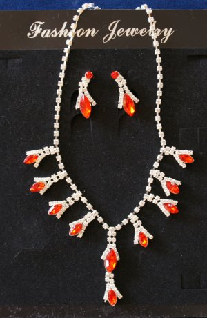 Necklace silver-colored-red
